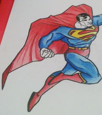 dessin de superman aux crayons de couleur trucs et deco. Black Bedroom Furniture Sets. Home Design Ideas